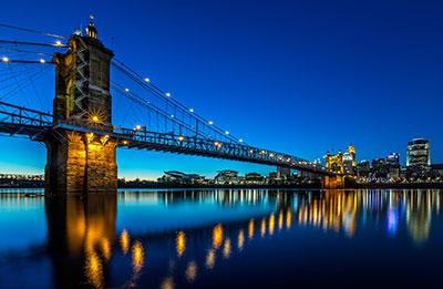 The Roebling Bridge and downtown Cincinnati