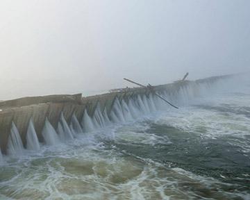 A flooding dam