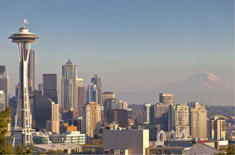 The Seattle Skyline - complete with mountains, skyscrapers and the famous Space Needle