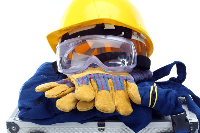 Hard hat, safety goggles, gloves