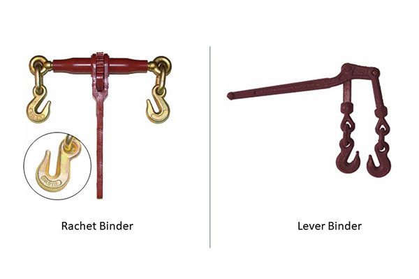 A ratchet binder and a lever binder