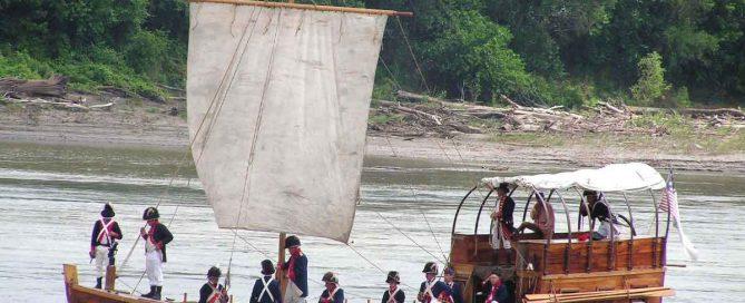 Boat sailing down river